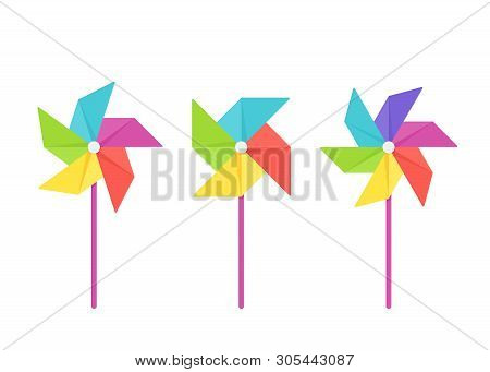 Pinwheel Baby Toy. Vector. Paper Windmill Icon. Set Kids Toys Isolated On White Background In Flat D