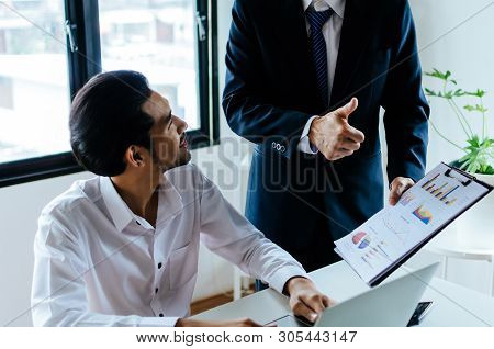 Good Job Man. Business Boss Team Leader Encourage And Showing Thumbs Up Expressing Positive Successf