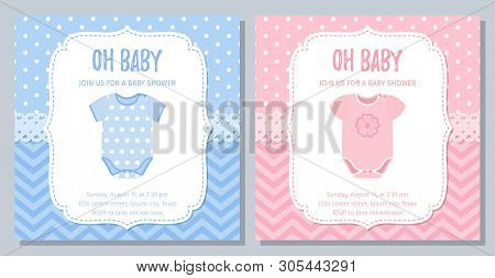 Baby Shower Card. Vector. Baby Boy, Girl Invite. Welcome Template Invitation Banner. Cute Blue Pink