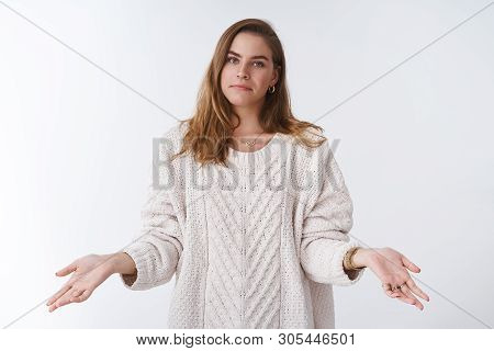 Cannot Help, Not My Problem. Portrait Unbothered Chill Indifferent Cool Woman Wearing Stylish Loose