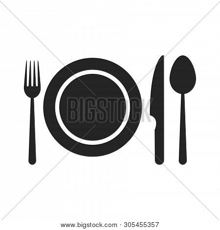 Plate With Fork, Knife And Spoon Icon Isolated On White Background. Plate With Fork, Knife And Spoon