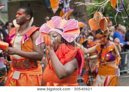 Performers From The Elimu Paddington Arts Float At The Notting Hill Carnival