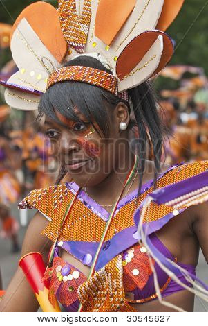 Performer From The Elimu Paddington Arts Float At The Notting Hill Carnival