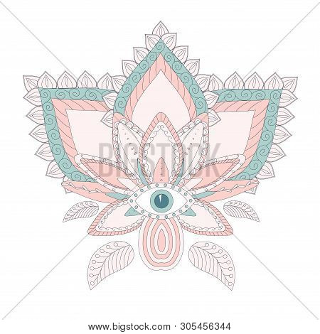 Stylised Lotus Flower. Blue And Pink Stock Vector Isolation Design Element For Web, For Print
