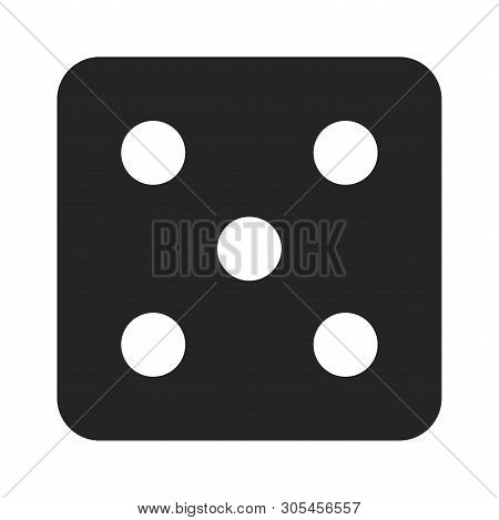 Dice Number Five Icon Isolated On White Background. Dice Number Five Icon In Trendy Design Style. Di
