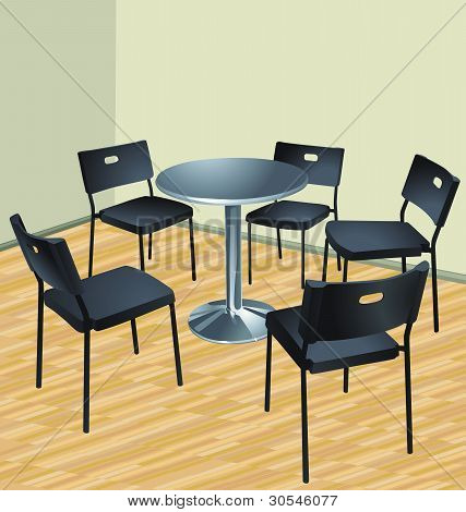 five chairs and table