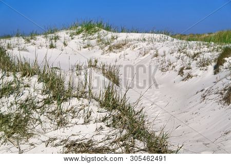 Sand Dunes On The Beautiful Beach Of The Northern Sea In Sankt Peter-ording, Germany