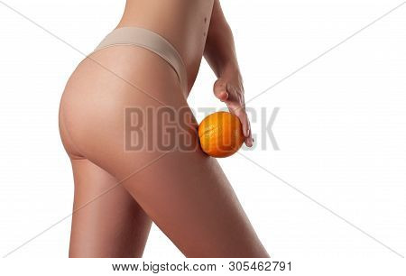 Body Care And Anti Cellulite Massage. Perfect Female Buttocks Without Cellulite In Panties. Beautifu