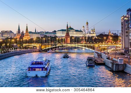 Moscow Kremlin At Night, Russia. Beautiful View Of The Moscow City Center In Evening. Panorama Of Fa