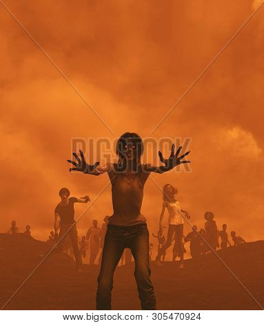 Zombies Horde In Badlands,post-apocalyptic Concept Ideas,3d Rendering