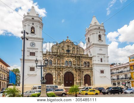 Panama City,panama - March 28,2019 - Metropolitan Cathedral In Old District (casco Viejo)of Panama C