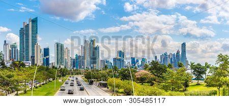 Panama City,panama - March 28,2019 - Panoramic View At The Downtown Of Panama City. Panama City Is C