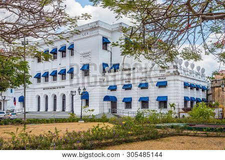 Panama City,panama - March 28,2019 - Building Of Theatre In Old District (casco Viejo)of Panama City