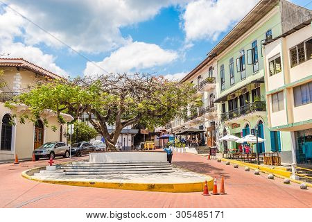 Panama City,panama - March 28,2019 - In The Streets Of Old District (casco Viejo)in Panama City. Cas