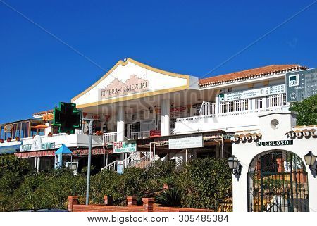 Riviera Del Sol, Spain - January 21, 2009 - Shopping Centre With Shops, Bars And Restaurants, Rivier