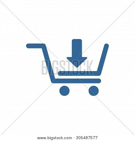 Add To Cart Line Icon. Button, Arrow Down, Download, Basket. Shopping Concept, Shopping Cart Icon Se