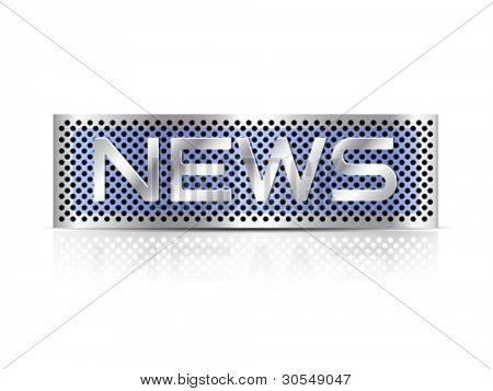 News advertising metal plate against white background