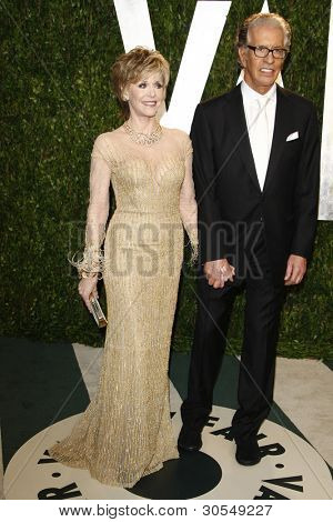LOS ANGELES - FEB 26:  Jane Fonda; Richard Perry arrive at the 2012 Vanity Fair Oscar Party  at the Sunset Tower on February 26, 2012 in West Hollywood, CA