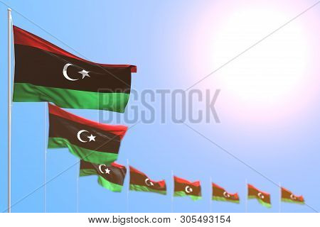 Cute Many Libya Flags Placed Diagonal With Soft Focus And Empty Place For Content - Any Celebration