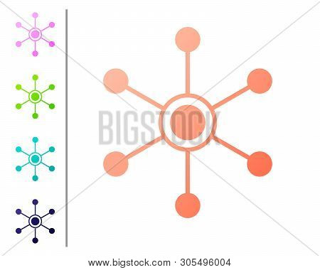 Coral Network Icon Isolated On White Background. Global Network Connection. Global Technology Or Soc