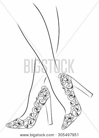 Sketching Outline Of Graceful Female Feet In Abstract Shoes With High Heels, Black Over White Vector