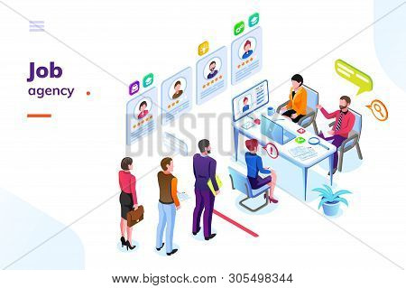 Job Or Hiring Agency Isometric View. Hire Or Recruitment Business Room With People In Queue. Man And