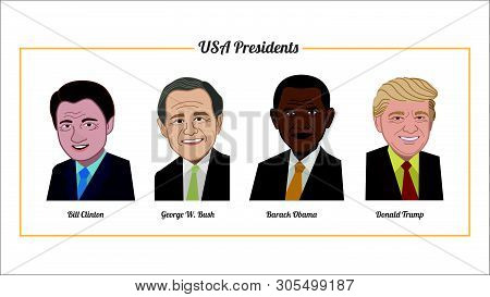 June 5, 2019.  Vector Flat Style Icon Set Of Famous Usa Presidents Collection Portrait.