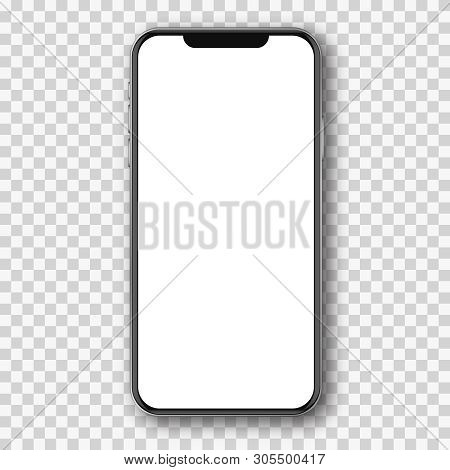 Mobile Phone White Mockup .  Cell Phone Blank Template.