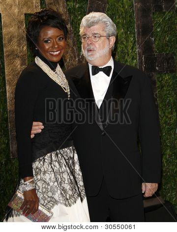 LOS ANGELES - FEB 26:  Mellody Hobson; George Lucas arrive at the 2012 Vanity Fair Oscar Party  at the Sunset Tower on February 26, 2012 in West Hollywood, CA
