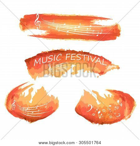 poster of Music notes on paint. Music festival, music, sign. Isolated on white.Music colorful background with G-clef and music notes vector illustration design. Music festival poster, creative music notes .