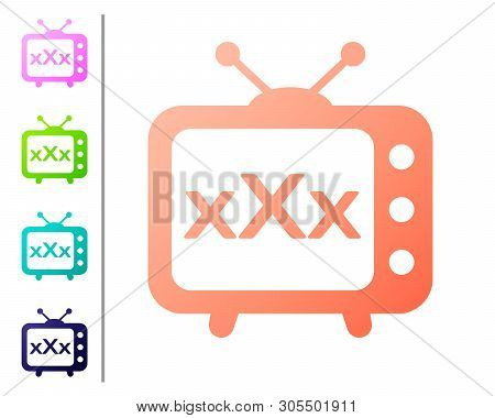 Coral Xxx Tv Old Television Icon Isolated On White Background. Age Restriction Symbol. 18 Plus Conte