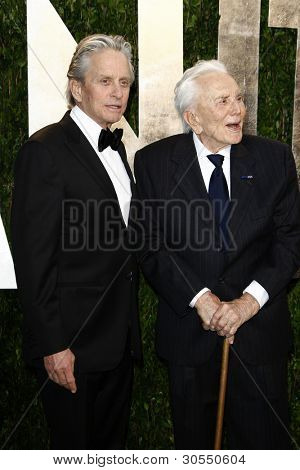 LOS ANGELES - FEB 26:  Michael Douglas; Kirk Douglas arrive at the 2012 Vanity Fair Oscar Party  at the Sunset Tower on February 26, 2012 in West Hollywood, CA