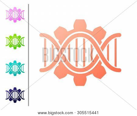 Coral Genetic Engineering Icon Isolated On White Background. Dna Analysis, Genetics Testing, Cloning