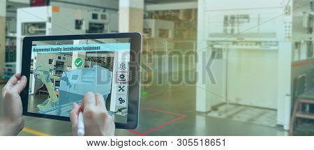 Smart Manufacturing ,industry 4.0, 5.0 Technology Concept, Man Use Augmented Mixed Virtual Reality T