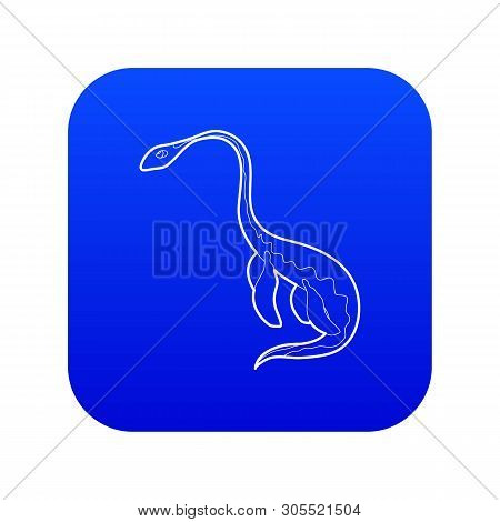 Aquatic Dinosaur Icon Blue Vector Isolated On White Background