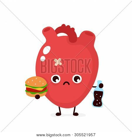 Sad Unhealthy Sick Human Heart Organ With Bottle Of Soda And Burger. Vector Modern Style Cartoon Cha