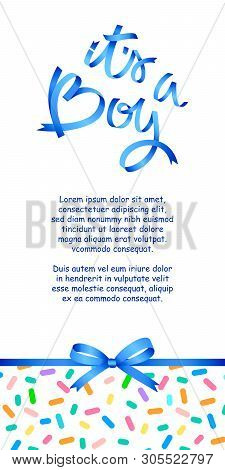 Calligraphy Greeting Card, Its A Boy. Baby Shower Or Baby Birth Lettering Card Template. Just Add Yo
