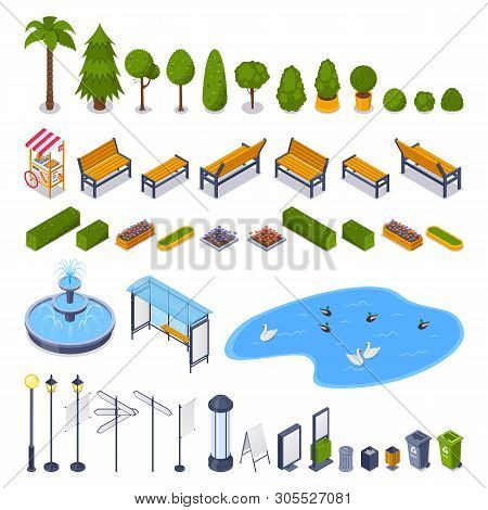 City Streets And Public Park 3d Isometric Design Elements. Vector Urban Outdoor Landscape Icons. Gre