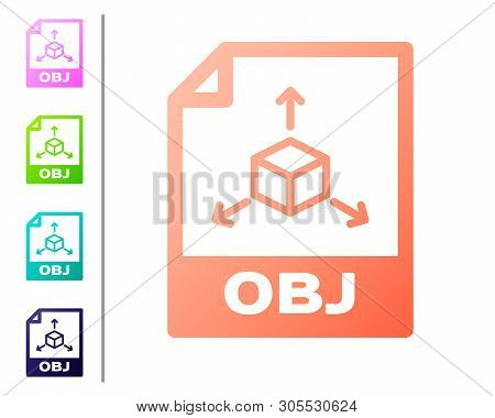 Coral Obj File Document Icon. Download Obj Button Icon Isolated On White Background. Obj File Symbol