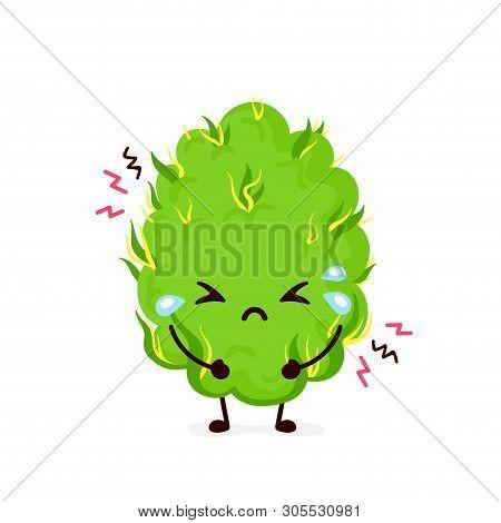 Cute Sad Cry Scary Paranoid Marijuana Weed Bud.vector Flat Cartoon Character Illustration Icon Desig