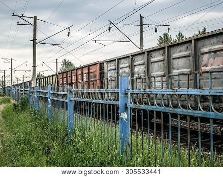 The Cars Of The Train. Railway. Freight Train. Sending Cargo By Train.