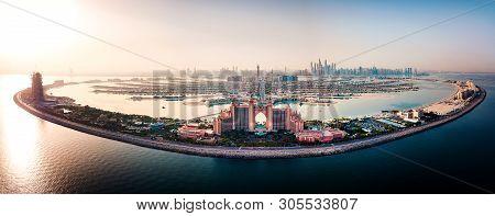 Dubai, United Arab Emirates - June 5, 2019: Atlantis Hotel And The Whole Palm Island Background In D