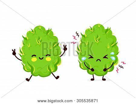 Cute Sad Cry Scary Paranoid And Happy Marijuana Weed Bud.vector Flat Cartoon Character Illustration