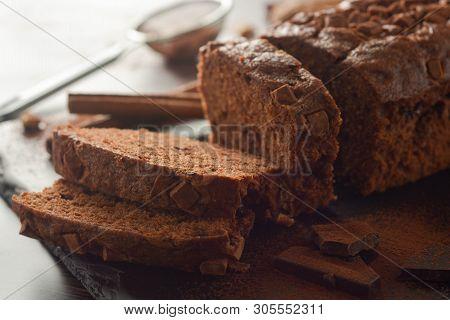 Delicious Vegan Chocolate Cake. Chocolate Pound Cake Or Sponge Cake Dessert.