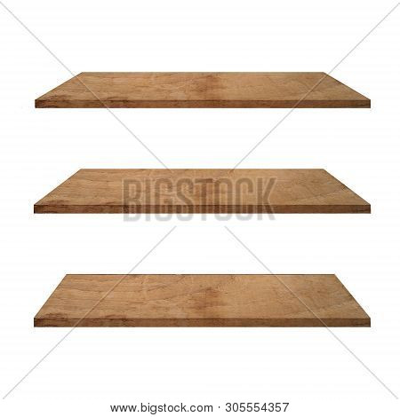 3 Wood Shelves Table Isolated On White Background And Display Montage For Product.