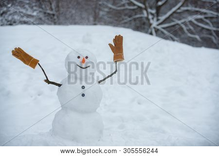 Snowman In A Scarf And Hat. Greeting Snowman. Cute Snowmen Standing In Winter Christmas Landscape. T