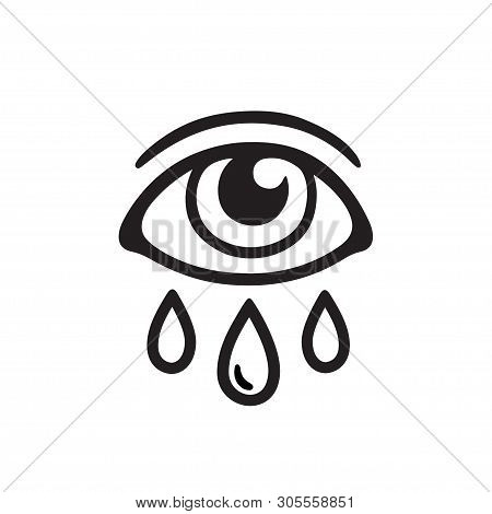 Eye With Three Tears, Black And White Drawing. Crying Human Eye And Teardrop Tattoo Design. Isolated