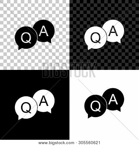 Question And Answer Mark In Speech Bubble Icon Isolated On Black, White And Transparent Background.