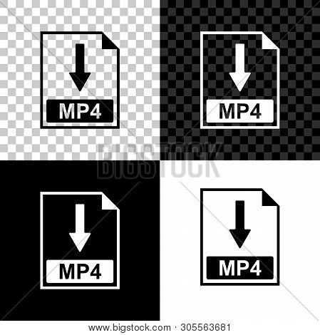 Mp4 File Document Icon. Download Mp4 Button Icon Isolated On Black, White And Transparent Background