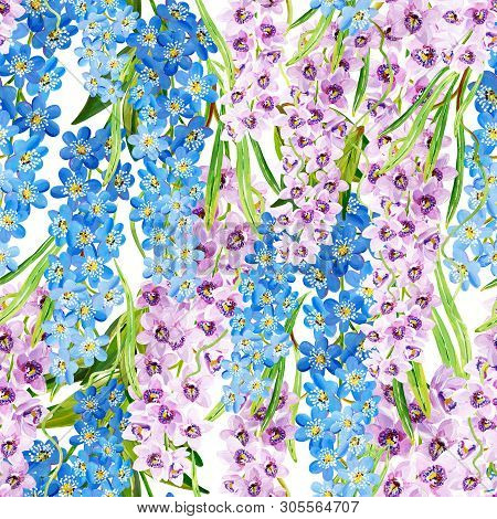 Gouache Seamless Tropical Pattern With Lilac Orchids And Blue Floral Branches